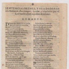 Libros antiguos: ROMANCE. SENTENCIAS POR UN LEAL SANCHO, EXPOSITOR DE REFRANES. S. XVIII. GUERRA DE SUCESIÓN. Lote 268898789