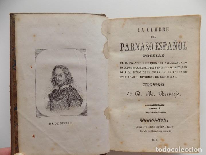 Libros antiguos: LIBRERIA GHOTICA. LUJOSA EDICIÓN DE LA CUMBRE DEL PARNASO ESPAÑOL.POESIAS DE QUEVEDO.1846.ED.BERMEJO - Foto 5 - 270192373