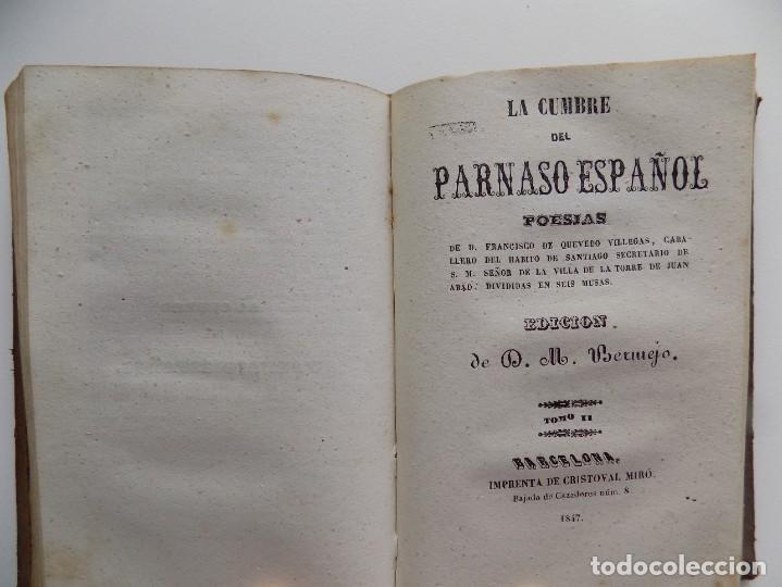 Libros antiguos: LIBRERIA GHOTICA. LUJOSA EDICIÓN DE LA CUMBRE DEL PARNASO ESPAÑOL.POESIAS DE QUEVEDO.1846.ED.BERMEJO - Foto 6 - 270192373