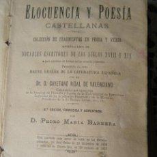Libros antiguos: ELOCUENCIA Y POESIA CASTELLANAS DEL AÑO 1895. Lote 270218013