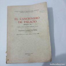 Libros antiguos: EL CANCIONERO DE PALACIO. (MANUSCRITO Nº594). VENDRELL DE MILLÁS, F. CSIC. BARCELONA, 1945. Lote 274620883