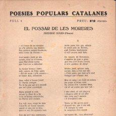 Libros antiguos: FREDERIC SOLER PITARRA : POESIES POPULARS CATALANES Nº 1 - EL FOSSAR DE LES MORERES. Lote 277704128