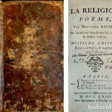 Libros antiguos: RACINE, LOUIS. LA RELIGION. POËME. HUITIEME ÉDITION... (SEGUIDO DE:) LA GRACE. POËME. 1763.. Lote 278277688
