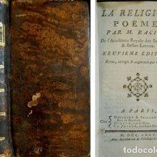 Libros antiguos: RACINE, LOUIS. LA RELIGION. POËME. NEUVIEME ÉDITION... (SEGUIDO DE:) LA GRACE. POËME. 1775.. Lote 278278773