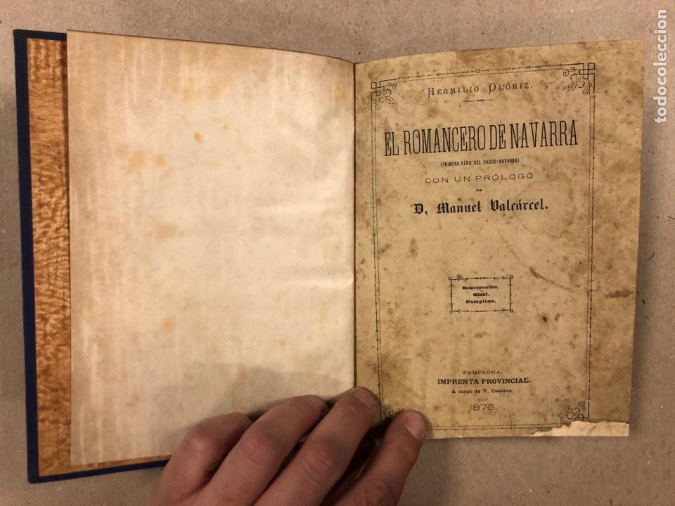 Libros antiguos: EL ROMANCERO NAVARRO. HERMINIO OLORIZ. IMPRENTA PROVINCIAL PAMPLONA (1876). - Foto 3 - 281935653