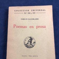 Libros antiguos: POEMAS EN PROSA. Lote 287438568