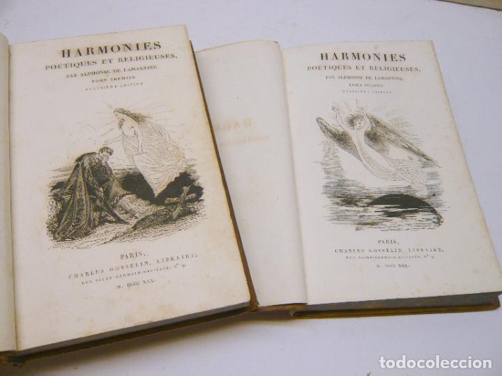 Libros antiguos: Harmonies poétiques et religieuses en 2 tomos año 1830 - LAMARTINE Alphonse de. - Foto 4 - 287793418