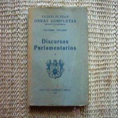 Libros antiguos: JUAN VÁZQUEZ DE MELLA Y FANJUL. DISCURSOS PARLAMENTARIOS I. PRIMERA EDICIÓN 1935. . Lote 16639444