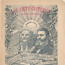 Libros antiguos: JOAQUÍN COSTA. LOS SIETE CRITERIOS DE GOBIERNO. MADRID, 1914. AR.. Lote 26697192