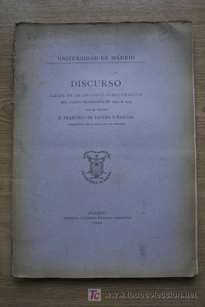NEUROSIS POSTCATASTRÓFICA Y CRISIS UNIVERSITARIA. CASTRO Y PASCUAL (FRANCISCO DE) (Libros Antiguos, Raros y Curiosos - Pensamiento - Política)