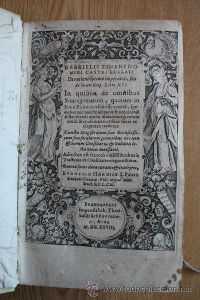 DE RATIONE OPTIME IMPERANDI, SEU DE STATU REIPUBLICAE,... ZINANI (GABRIELIS) (Libros Antiguos, Raros y Curiosos - Pensamiento - Política)