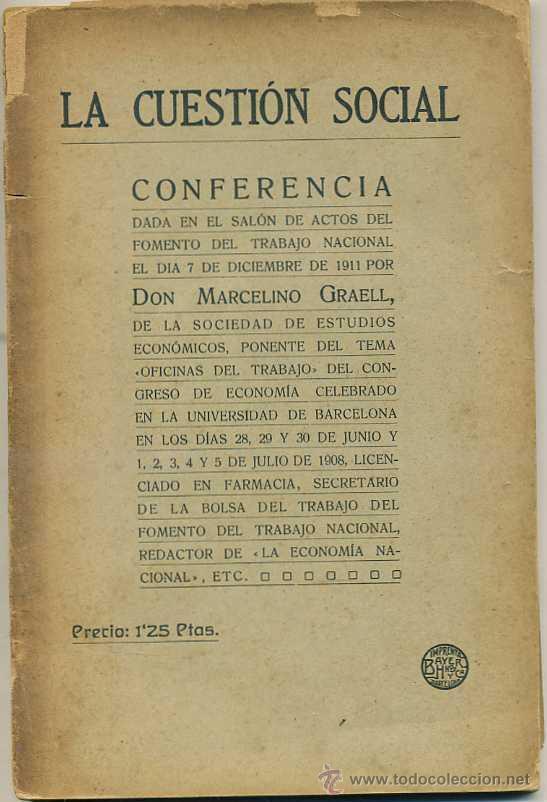 MARCELINO GRAELL : LA CUESTIÓN SOCIAL (1919) (Libros Antiguos, Raros y Curiosos - Pensamiento - Política)