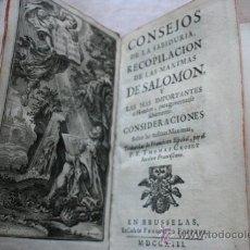 Libros antiguos: CONSEJOS DE LA SABIDURÍA, RECOPILACIÓN DE LAS MÁXIMAS DE SALOMÓN Y LAS MÁS IMPORTANTES AL HOMBRE.... Lote 28749448