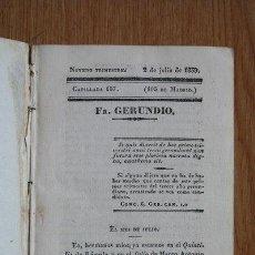 Libros antiguos: FRAY GERUNDIO. PERIÓDICO SATÍRICO DE POLÍTICA Y COSTUMBRES. NOVENO TRIMESTRE. 1839.. Lote 29531862
