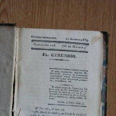 Libros antiguos: FRAY GERUNDIO. PERIÓDICO SATÍRICO DE POLÍTICA Y COSTUMBRES. SÉPTIMO TRIMESTRE. 1839. . Lote 29531899