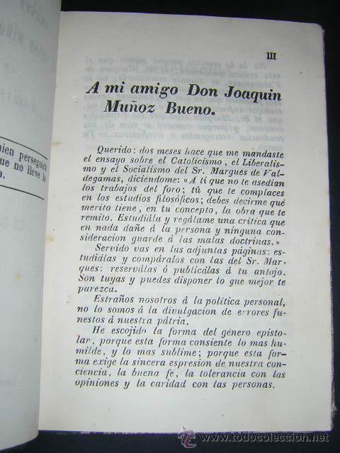 Libros antiguos: 1851 - NICOMEDES MATEOS - 26 CARTAS AL MARQUES DE VALDEGAMAS - CATOLICISMO, LIBERALISMO, SOCIALISMO - Foto 3 - 29636190