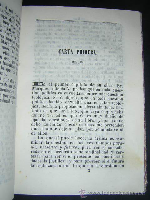 Libros antiguos: 1851 - NICOMEDES MATEOS - 26 CARTAS AL MARQUES DE VALDEGAMAS - CATOLICISMO, LIBERALISMO, SOCIALISMO - Foto 4 - 29636190