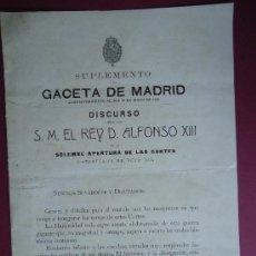 Libros antiguos: MONARQUIA.'DISCURSO DE ALFONSO XIII EN LA APERTURA DE LAS CORTES 10 DE MAYO DE 1916. Lote 30168954