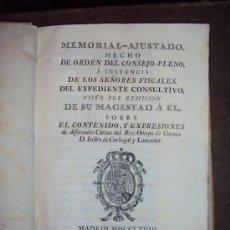 Libros antiguos: MEMORIAL AJUSTADO HECHO DE ORDEN DEL CONSEJO-PLENO, ... 1768. P. R. CAMPOMANES. Lote 30630537