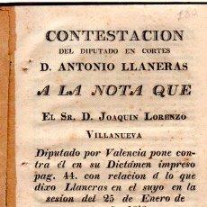 Libros antiguos: CONTESTACIÓN DEL DIPUTADO EN CORTES ANTONIO LLANERAS A JOAQUÍN LORENZO VILLANUEVA, CÁDIZ 1813. Lote 31237866
