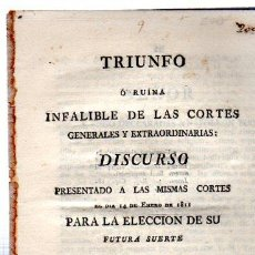 Libros antiguos: TRIUNFO, DISCURSO PRESENTADO A LAS CORTES, POR D. J. DE M., CÁDIZ, IMP. ANTONIO DE MURGUIA, 1811. Lote 31246693