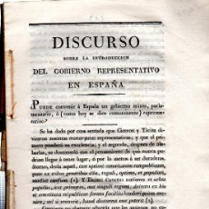 Libros antiguos: DISCURSO SOBRE LA INTRODUCCIÓN DEL GOBIERNO REPRESENTATIVO EN ESPAÑA, AUTOR DESCONOCIDO,1.800 APROX.. Lote 31275350