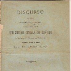 Libros antiguos: DISCURSO PRONUNCIADO POR DON ANTONIO CÁNOVAS DEL CASTILLO EN EL CONGRESO 1878. Lote 31349401
