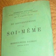 Libros antiguos: DU GOUVERNEMENT DE SOI-MÊME DARBOY HACHETTE AÑO 1867 SIGLO XIX. Lote 31376221