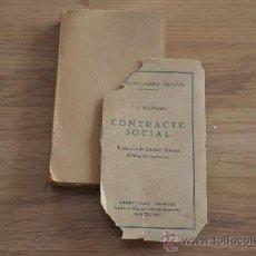 Libros antiguos: CONTRACTE SOCIAL. J.J.ROUSSEAU. Lote 31475936