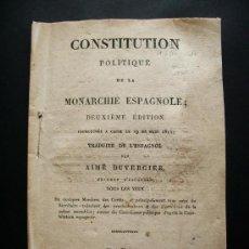 Libros antiguos: 1820-CONSTITUCIÓN ESPAÑOLA DE 1812.LA PEPA.CÁDIZ.ORIGINAL SEGUNDA EDICIÓN EN FRANCÉS.. Lote 31799676
