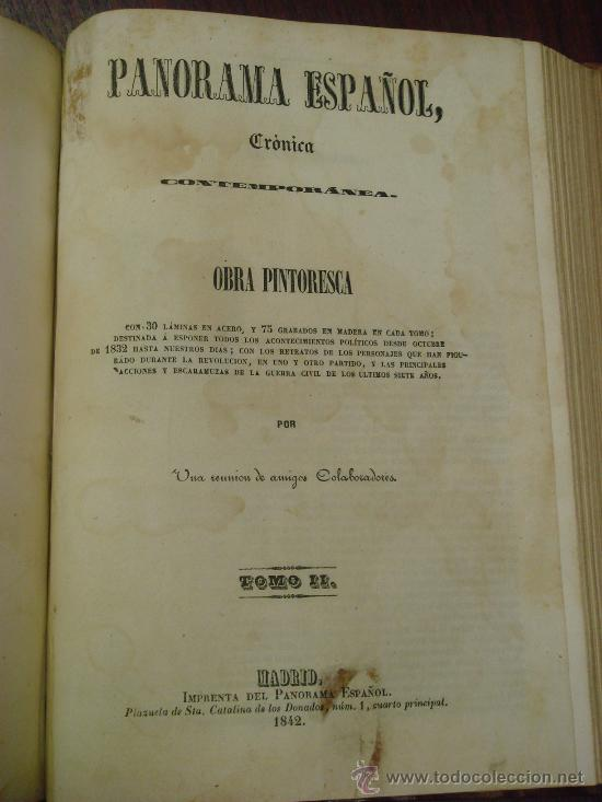 Libros antiguos: Panorama Español, 1842-45 , 2 Vol. (T:I-II y T:III-IV) Crónica contemporánea. - Foto 2 - 32450165