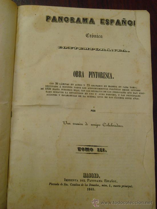 Libros antiguos: Panorama Español, 1842-45 , 2 Vol. (T:I-II y T:III-IV) Crónica contemporánea. - Foto 3 - 32450165