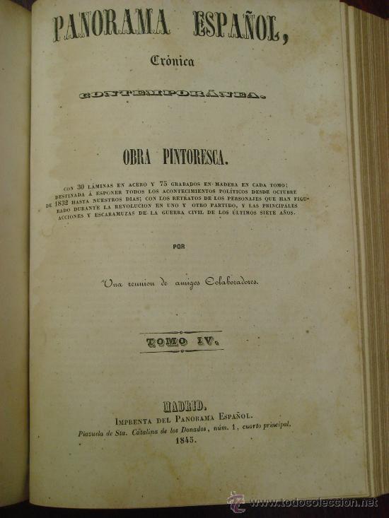 Libros antiguos: Panorama Español, 1842-45 , 2 Vol. (T:I-II y T:III-IV) Crónica contemporánea. - Foto 4 - 32450165