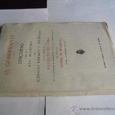 Libros antiguos: 1924 EL GOBERNANTE DISCURSO DEL MARQUES DE LEMA Y CONTESTACION DEL CONDE DE BUGALLAL. Lote 36611772