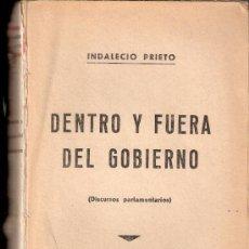 Libros antiguos: DENTRO Y FUERA DEL GOBIERNO. DISCURSOS PARLAMENTARIOS. INDALECIO PRIETO.MADRID.1935.FALTA PORTADA. . Lote 37104757