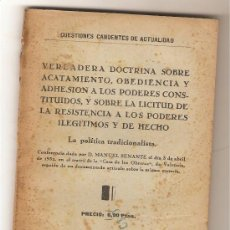 Libros antiguos: CONFERENCIA DE DON MANUEL SENANTE (LA POLÍTICA TRADICIONALISTA). Lote 37427999