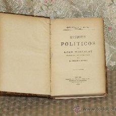 Libros antiguos: 3314- ESTUDIOS POLITICOS. MACAULAY. LIB. PERLADO. 1901.. Lote 37487021