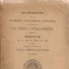 Libros antiguos: PRIMERA ASSAMBLEA GENERAL DE DELEGATS UNIO CATALANISTA...BASES PERA LA CONSTITUCIO REGIONAL CATALANA. Lote 42832406