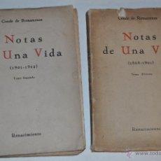 Libros antiguos: NOTAS DE UNA VIDA. TOMOS I Y II. DOS TOMOS. CONDE DE ROMANONES RM65332. Lote 42936970