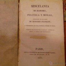 Libros antiguos: MISCELANEA DE ECONOMIA, POLITICA Y MORAL DE BENJAMIN FRNAKLIN. Lote 45223256