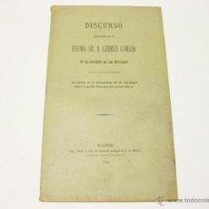 Libros antiguos: DISCURSO PRONUNCIADO POR EL EXCMO. SR. D. GERMAN GAMAZO EN EL CONGRESO DE LOS DIPUTADOS. 18941. Lote 45789540