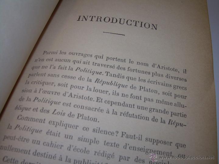 Libros antiguos: LIBRO TAPAS DE PIEL......LA POLITIQUE DE ARISTOTE. - Foto 6 - 48369711