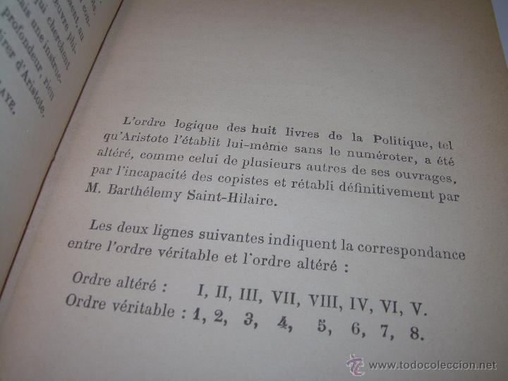 Libros antiguos: LIBRO TAPAS DE PIEL......LA POLITIQUE DE ARISTOTE. - Foto 8 - 48369711