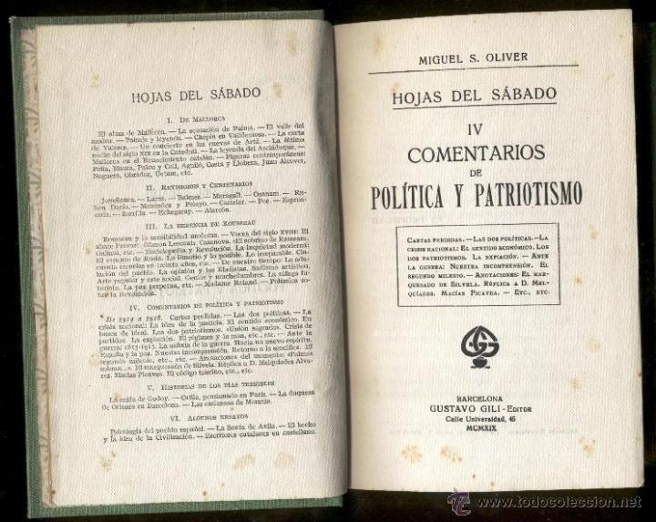 Libros antiguos: COMENTARIOS de POLITICA y PATRIOTISMO - Miguel S.Oliver - 1919 - Foto 2 - 48591892