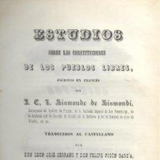 Sismonde de SISMONDI. Estudios sobre las constituciones de los pueblos libres. Madrid, 1843. S5