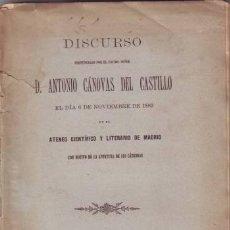 Libros antiguos: CANOVAS DEL CASTILLO, ANTONIO: DISCURSO. 1882. Lote 49352764