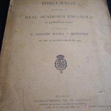 Libros antiguos: DISCURSOS DE ANTONIO MAURA ANTE LA REAL ACADEMIA 1903-EDICION ORIGINAL 1903. Lote 50083427