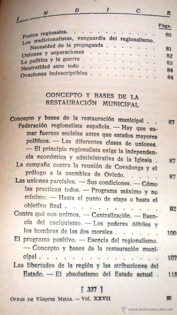 Libros antiguos: REGIONALISMO. TOMOS I Y II. DON JUAN VAZQUEZ DE MELLA Y FANJUL. (1935) VER DETALLES. 1A EDICIÓN - Foto 6 - 51480922