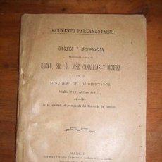 Libros antiguos: DISCURSO Y RECTIFICACIÓN PRONUNCIADO POR EL EXCMO. SR. D. JOSÉ CANALEJAS... EN EL CONGRESO... 1900. Lote 51664946