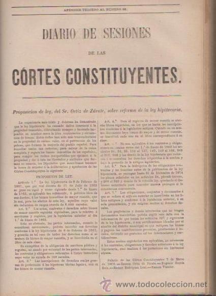 DIARIO DE SESIONES DE LAS CORTES CONSTITUYENTES 1869 - TOMO I - J.A.GARCÍA, IMPRESOR 1870 / MADRID (Libros Antiguos, Raros y Curiosos - Pensamiento - Política)